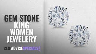 10 Best Selling Gem Stone King Women Jewelery [2018 ]: Timeless Brilliant 8mm 3.80ct DEW White
