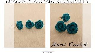 Tutorial orecchini e anello all'uncinetto, crochet earrings ring