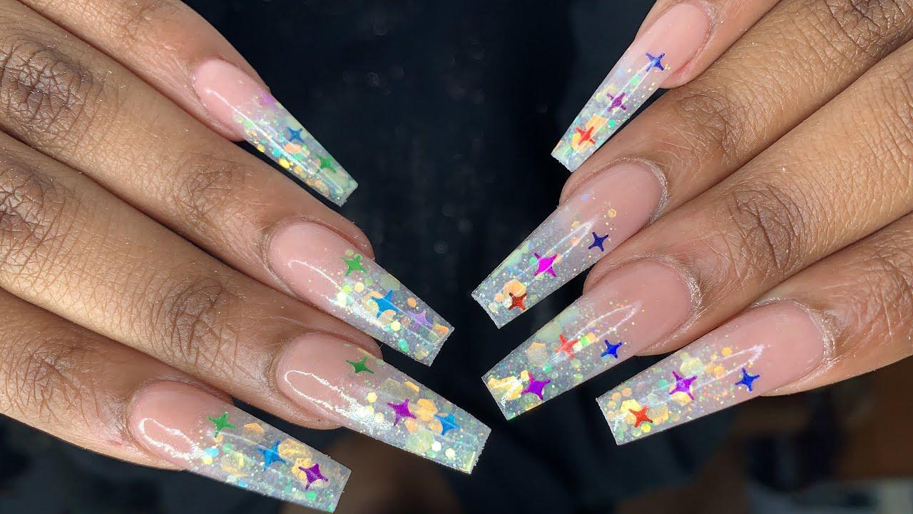 Acrylic Full Set Glitter   Nails Tutorial   - YouTube