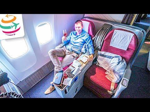 Qatar Airways Business Class 777-300ER   GlobalTraveler.TV