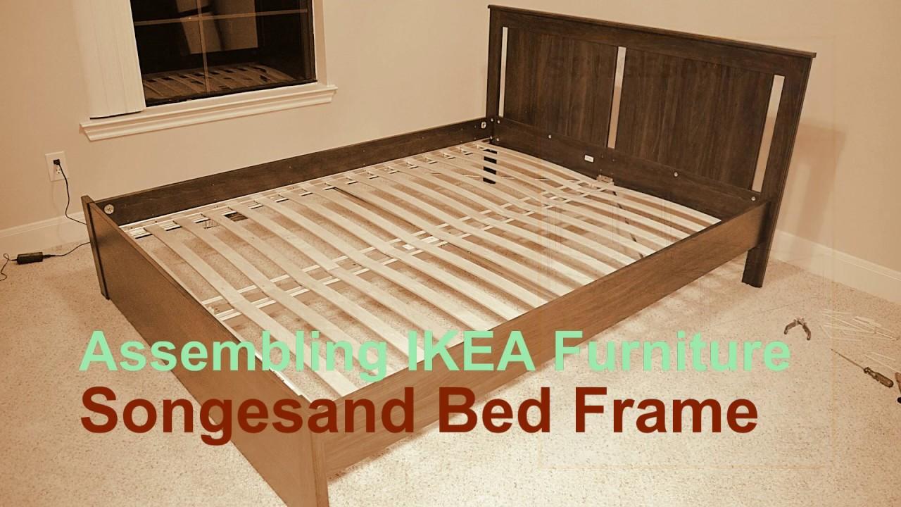 Ikea Furniture Assembling Songesand Bed Frame Youtube