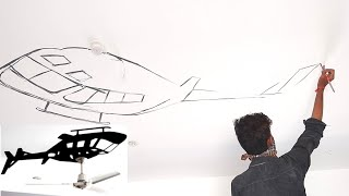 Interior ideas Ceiling fan with helicopter painting