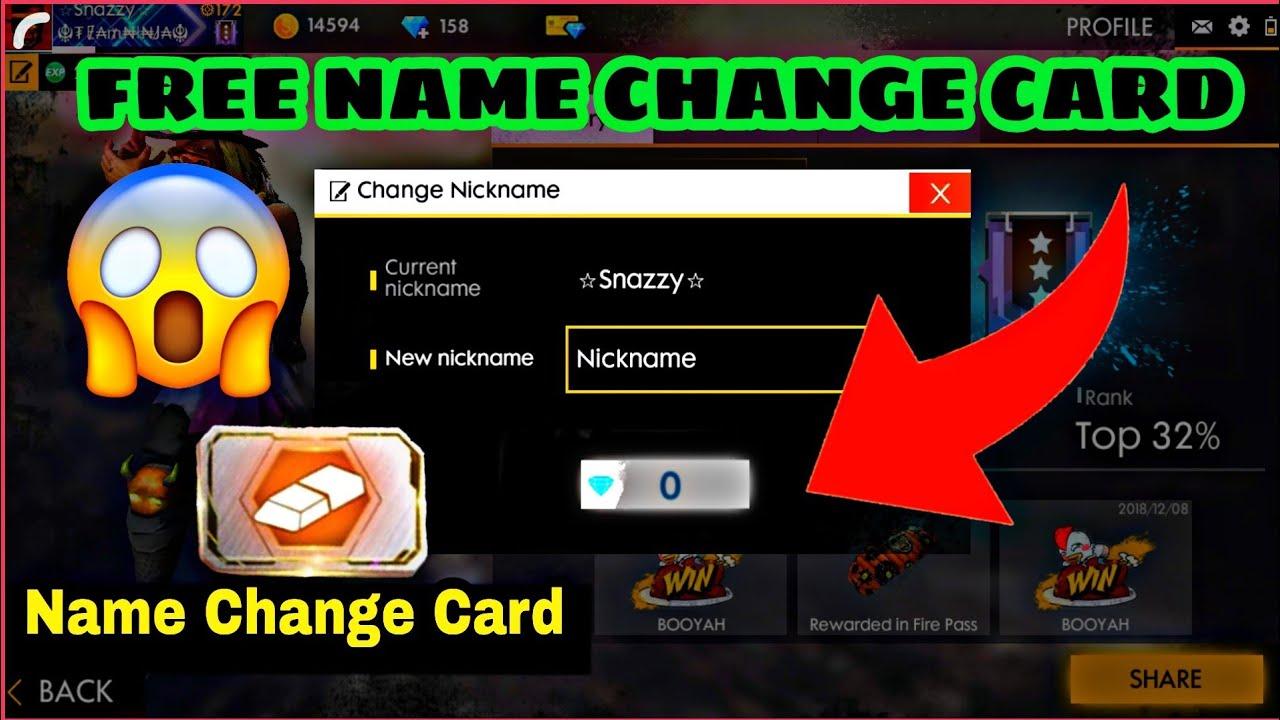 FREE NAME CHANGE CARD ON GARENA FREE FIRE