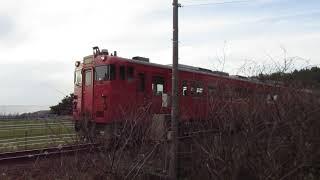 【五能線】普通列車が十二湖駅から出発