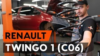 How to change front springs / front coil springs on RENAULT TWINGO 1 (C06) [TUTORIAL AUTODOC]