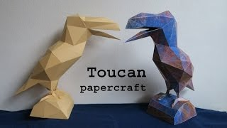 toucan - low poly papercraft - tutorial - dutchpapergirl