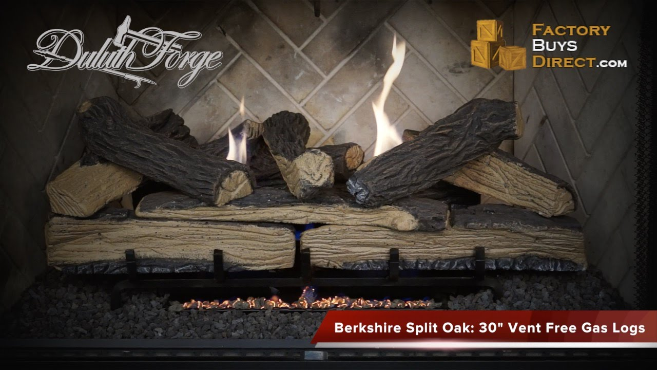 30 Inch Berkshire Split Oak Vent Free Gas Log Set 33000 Btu Youtube