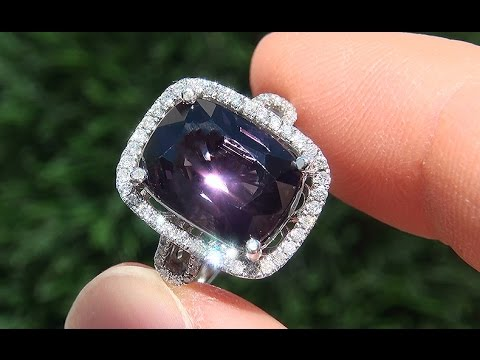 Estate VS1 Natural Purple Spinel Diamond 14k White Gold Cocktail Ring - A141696