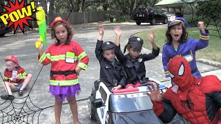 Kid Heroes 7 - Police With Their New Cop Car Chase Spiderman with Batman