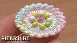 Crochet Round Button Pattern Free Урок 2 Вязаная пуговица