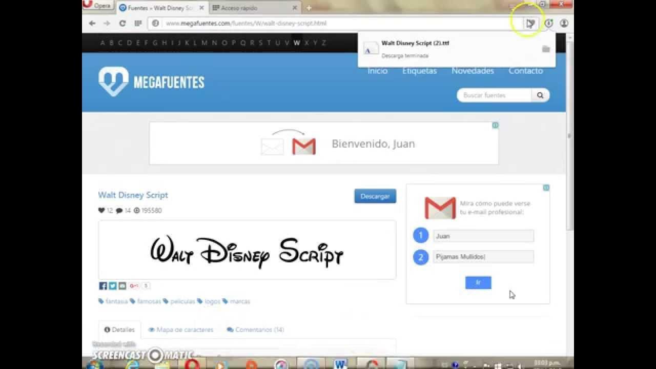 Como tener la fuente ''Walt Disney Script''