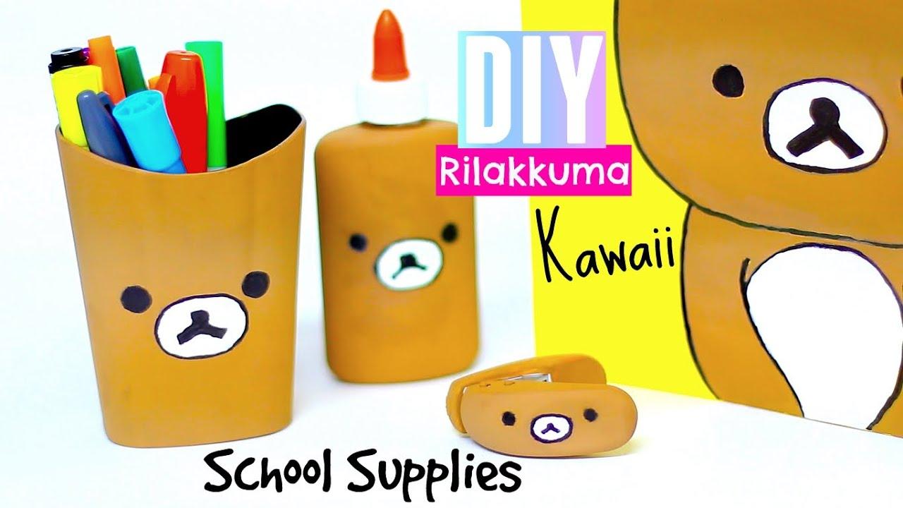 DIY Rilakkuma - folders pencil holder glue staple remover | kawaii diy projects - YouTube  sc 1 st  YouTube & DIY Rilakkuma - folders pencil holder glue staple remover ...