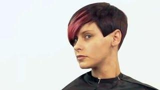 Модельная женская стрижка на короткие волосы с удлиненной косой челкой