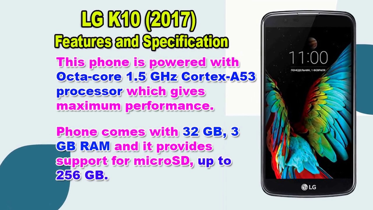 Features And Specification Of Lg K10 2017 Youtube