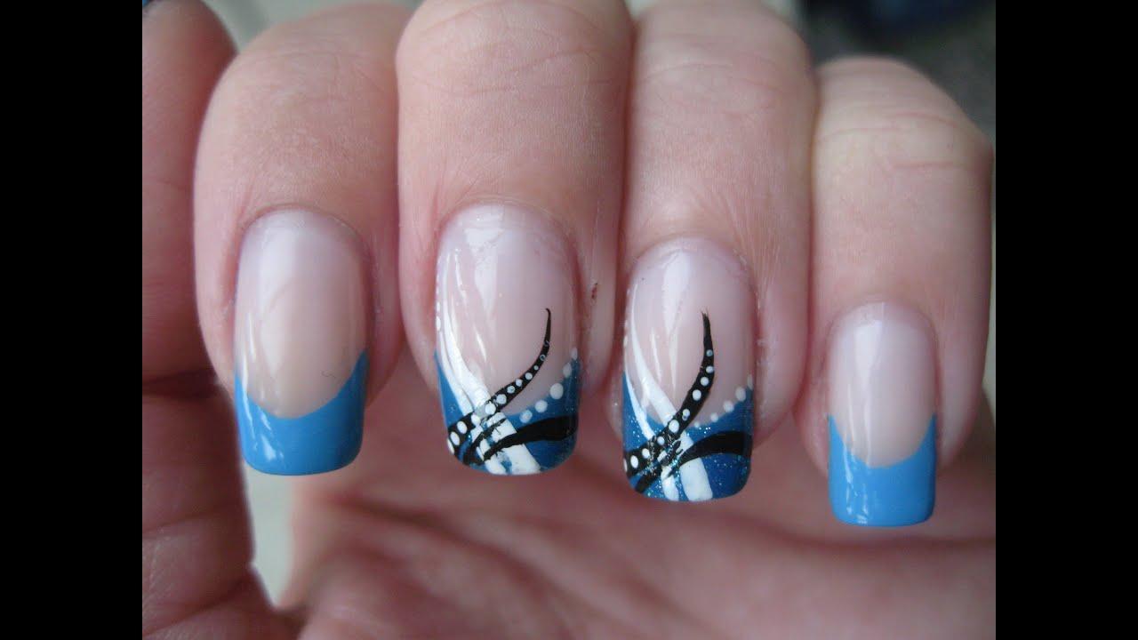 nail art abstract baby blue