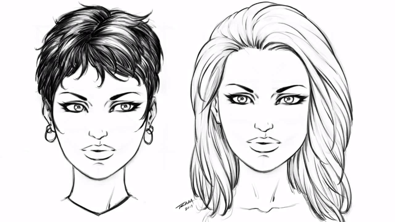 draw 2 hair styles - female