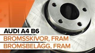 Hur byter man Bromsklotsar AUDI A4 (8E2, B6) - online gratis video