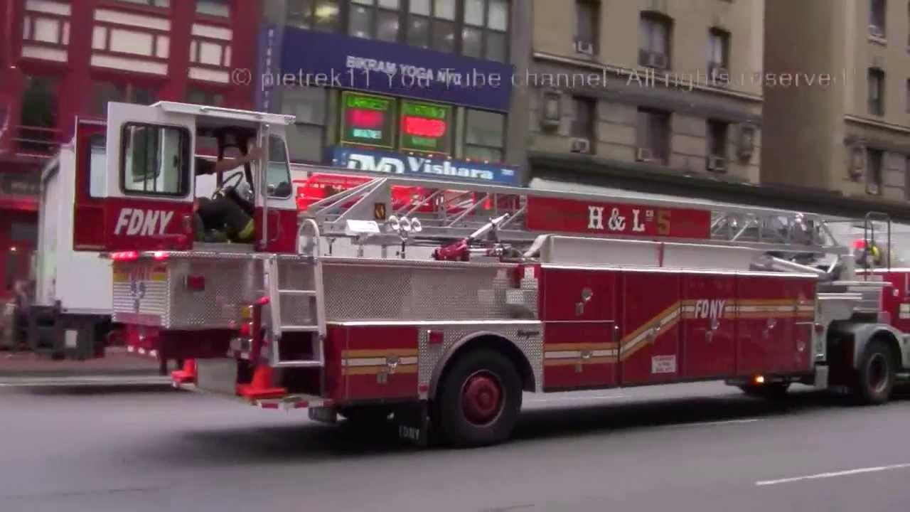 Craigslist Raleigh Nc >> Brand new fire trucks FDNY TILLER LADDER 5 & FDNY BATTALION CHIEF 11 © HD - YouTube