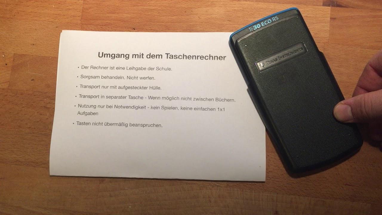 Texas Instruments Ti 30 Eco Rs Taschenrechner Neu