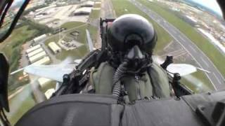 F-18 solo display from cockpit minicam