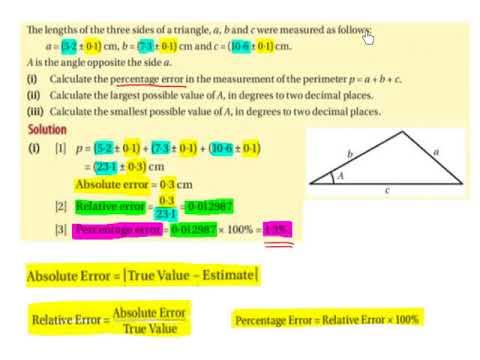 LC HL estimation, percentage error and tolerance