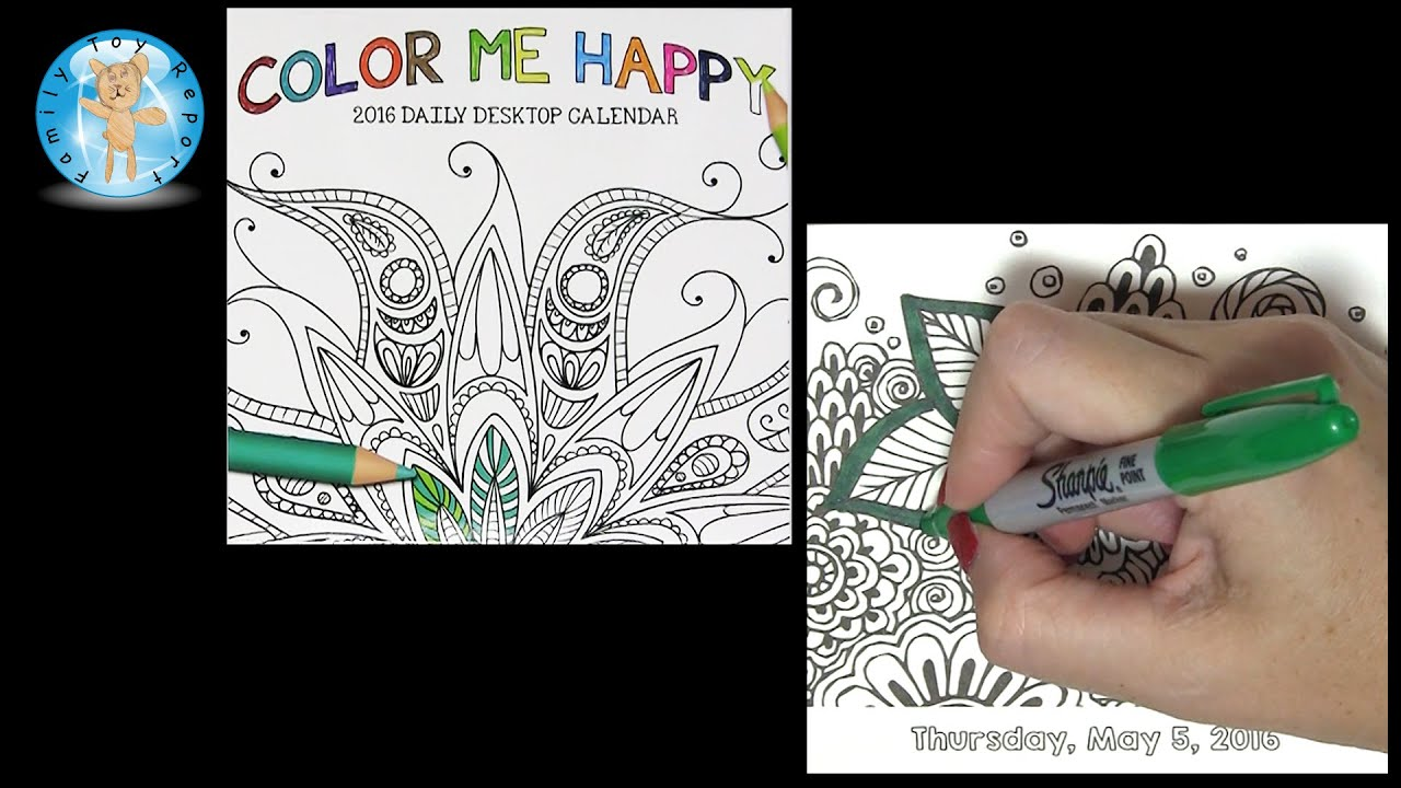 Color Me Happy 2016 Daily Desktop Calendar May 5 Adult Coloring Book Style