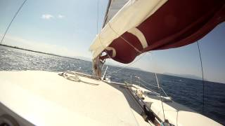EDEL 35 Catamaran sailing fast in gusty conditions in Greece