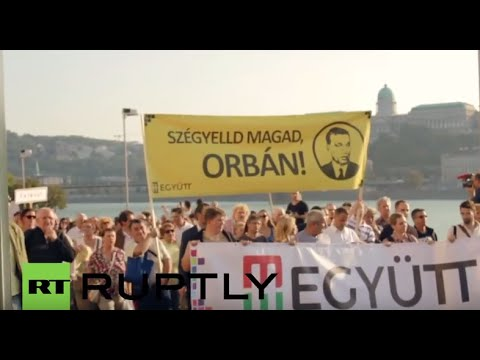 Hungary: 'Shame on you Orban!' Pro-refugee protesters rally in Budapest