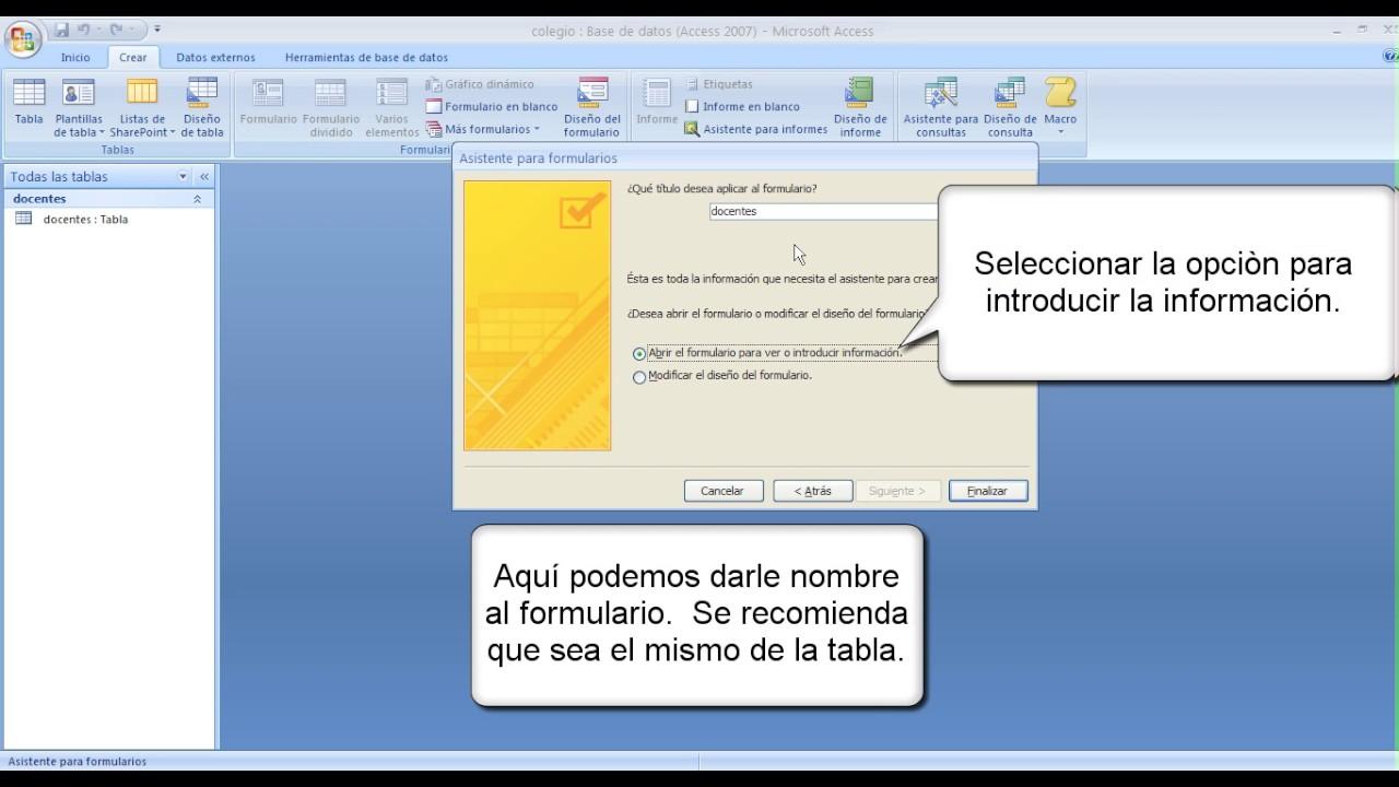 Access 2007 Formularios - YouTube