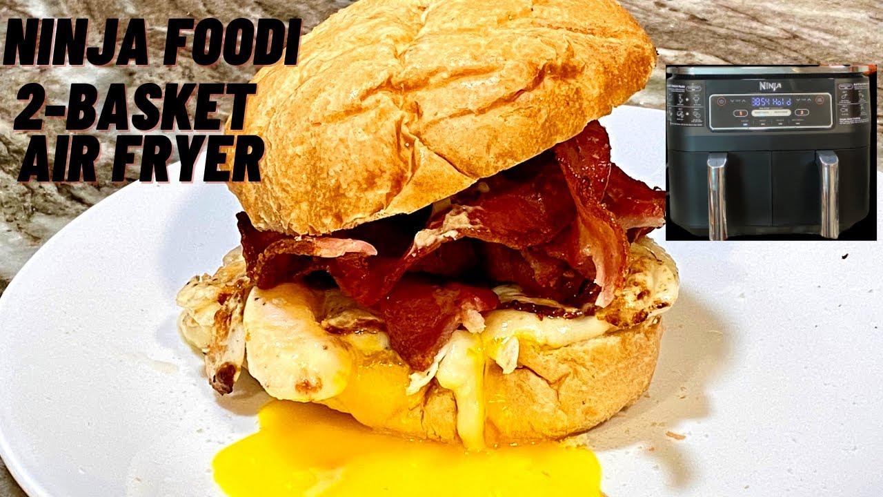 NINJA FOODI -2-BASKET AIR FRYER - Breakfast Sandwich!  Bacon, Egg and Cheese!