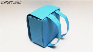 Как сделать оригами портфель из бумаги.