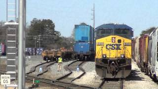 CSX Pinoca Yard - Intermodal loading and Mix Manifest pulling out - 03-09-13