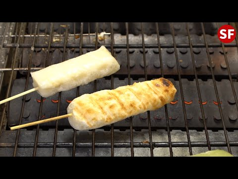烤麻糬—台灣夜市小吃 Taiwanese Snack Grilled Mochi-Taiwanese Street Food