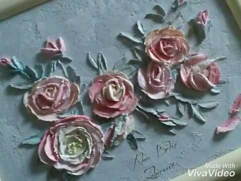 Relief painting decorative plaster  Working with palette knife