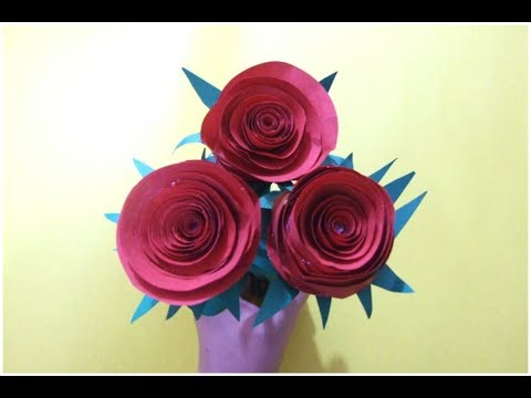 DIY How to make Paper Rose Flower for School project or home decor-Queen of DIY Crafts