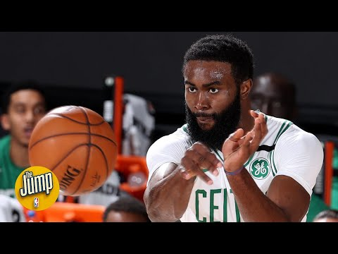 Jaylen Brown caught on tape telling ref not to 'pick on' Celtics teammate Marcus Smart | The Jump
