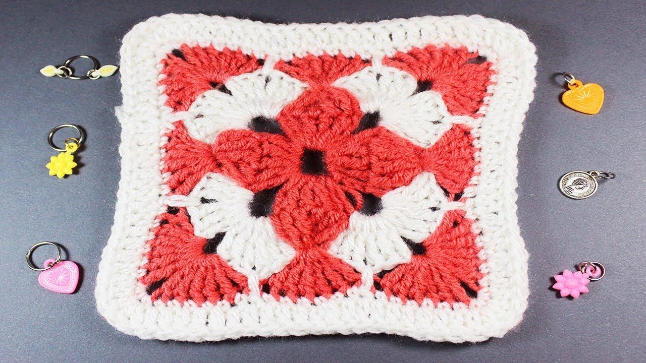 927be7276a8ab crochet granny square   كروشية مربع جرانى بارز بلونين  لعمل مفرش كروشيه او  بطانية