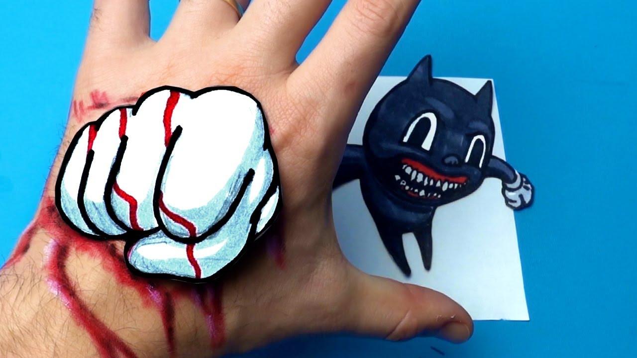 Don't Catch Me - 3D Drawing Illusion | Trevor Henderson's Cartoon Cat