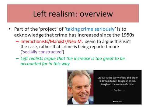 left right realism outline Left realismleft realism developed in the 1980s and is particularly identified with john lea and jock young (1984)left realists are interested to find out why crime was increasing so significantly left realism is critical of the perspectives which sees longer prison sentences as the solution to crime, (right realists) but also oppose the.