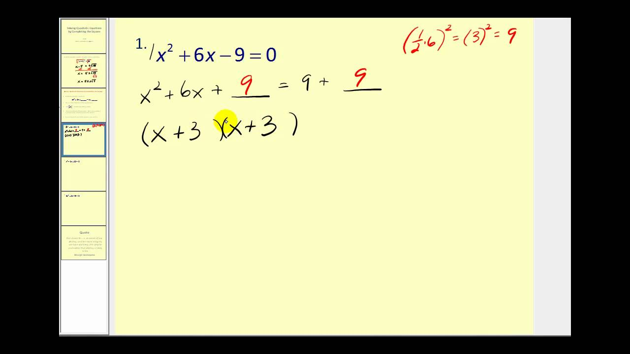 Download Completing the Square to Solve Quadratic Equations