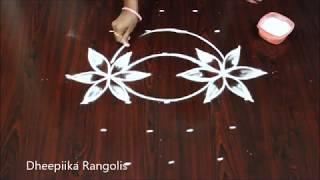 creative art rangoli design with 6 dots * new kolam designs * latest muggulu designs