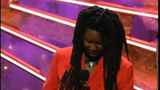 Golden Globes 1991 Whoopi Goldberg Wins the Award for Best Supporting Actress