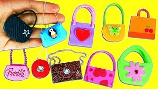 10 DIY Barbie Doll Miniature Handbags & Purses - 10 Different Styles - 10 Easy DIY Doll Crafts