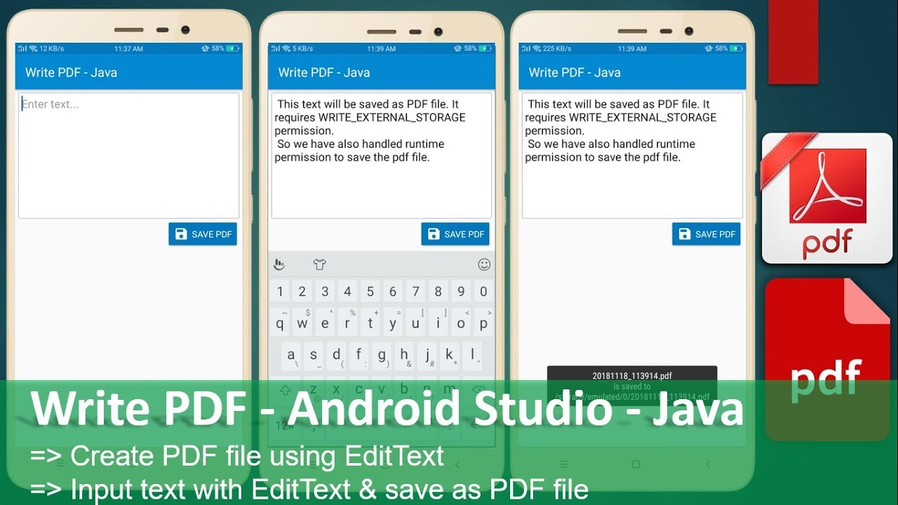 Write PDF - Android Studio - Java