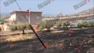Κινδύνευσαν σπίτια στα Καλύβια