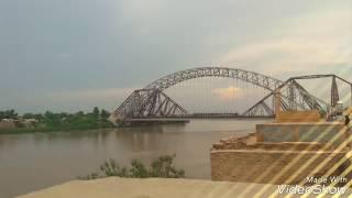 view of sukkur and rohri bridge. indus river darya sindh ayub bridge & lands down bridge