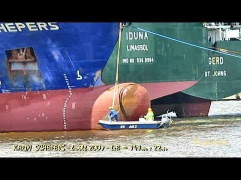 KARIN SCHEPERS V2HS3 IMO 9404077 layup being moored linesmen Emden Germany Auflieger Festmacher Sees
