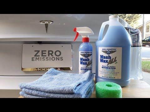 Waterless Wash with Aero Cosmetics Wash Wax All on Tesla Model 3