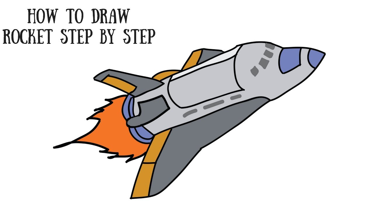 How To Draw A Rocket Step By Step For Kids Draw NASA