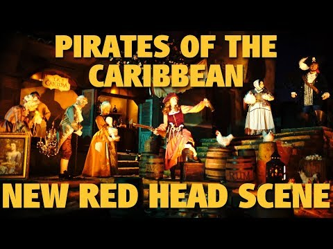 4K Pirates of the Caribbean - NEW Red Head Scene | Disneyland Resort